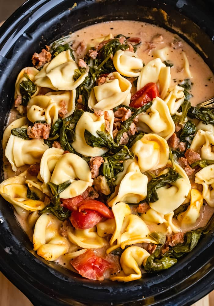 Crockpot Cheese Tortellini and Sausage