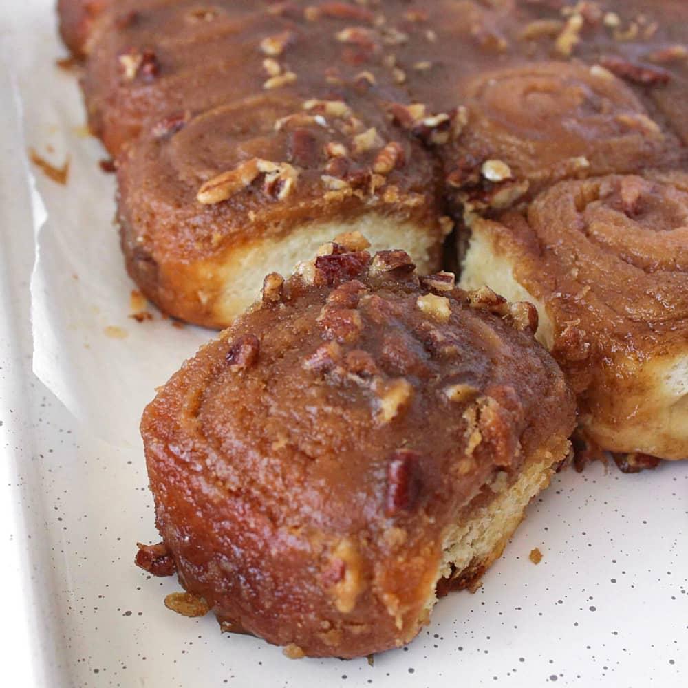 Caramel Cinnamon Rolls with Pecans | Homemade Recipe
