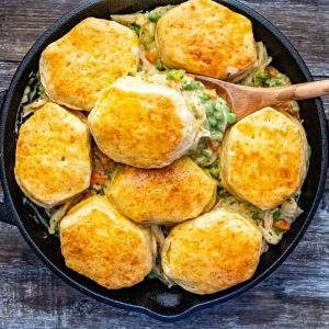 Homemade chicken pot pie with biscuit crust